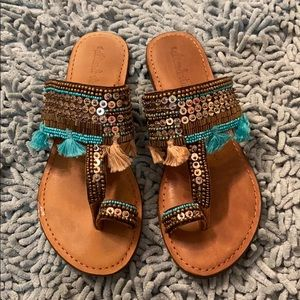 Altar'd state turquoise and gold sandals